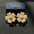 Gold Plated Jewelry cubic zirconia AAA Flower Stud Earrings Clover Shape with Paved CZ Simulated Diamonds Jewelry Women Earrings