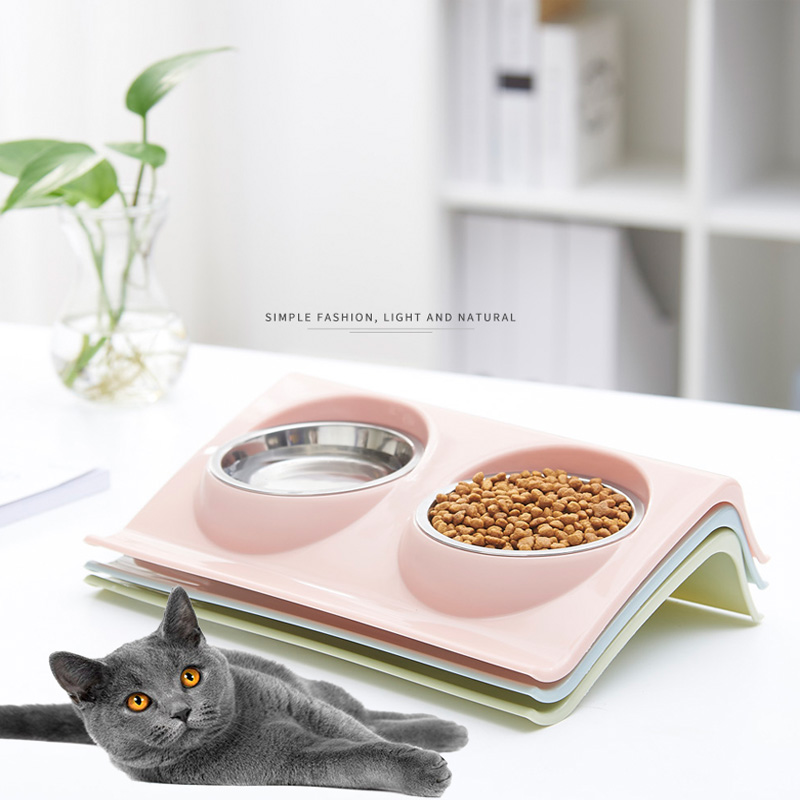 Pet Double Bowls Food Water Feeder Stainless Steel Cat Food Bowl for Dog Puppy Cats Pets Supplies Feeding Dishes S M in Cat Feeding Watering Supplies from Home Garden