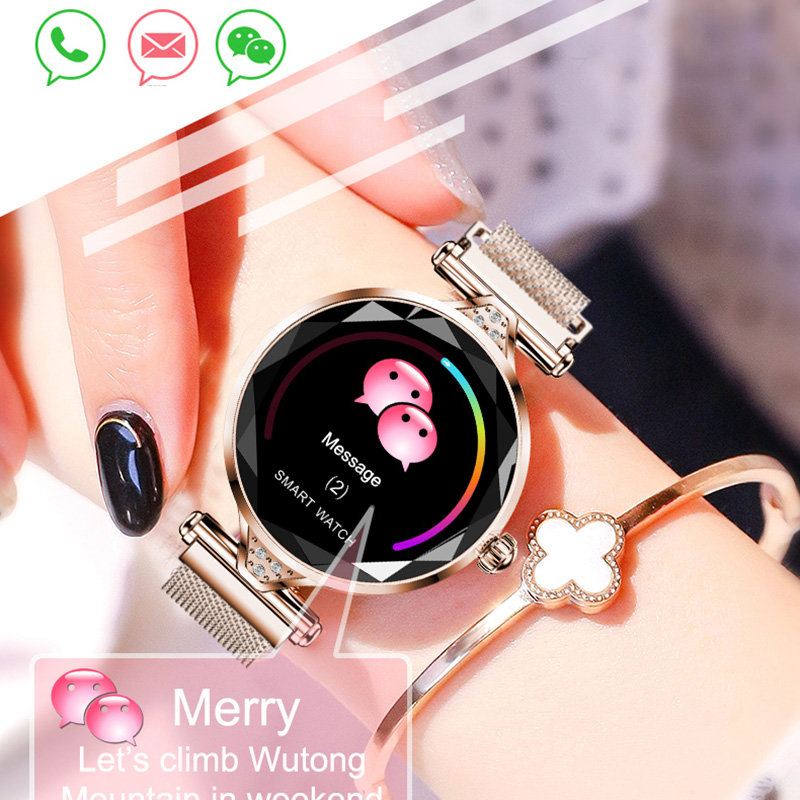 Femmes mode montre intelligente H1 pression artérielle moniteur de fréquence cardiaque Fitness Tracker acier maille Bracelet Smartwatch couleur écran horloge