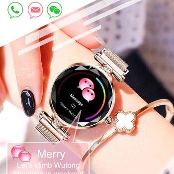Women Fashion Smart Watch H1 Blood Pressure Heart Rate Monitor Fitness Tracker Steel Mesh Bracelet Smartwatch Color Screen Clock