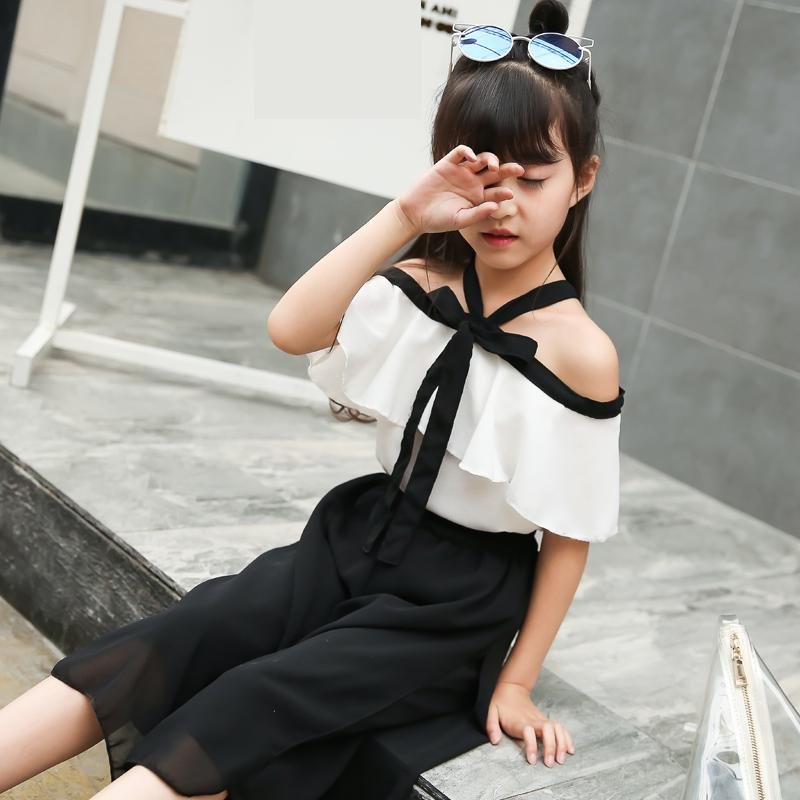 2018 New Girls Clothes Set Summer Children Clothing Sets Black White Blouses & Shirts + Pants 2 Pcs Girls Suit Kids Clothes Sale