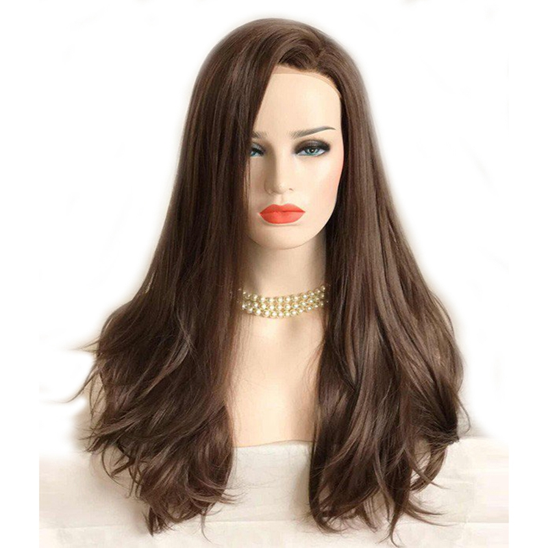 Dlme Dark Brown Lace Front Wig Natural Long Wavy Glueless Synthetic High Temperature Hea ...
