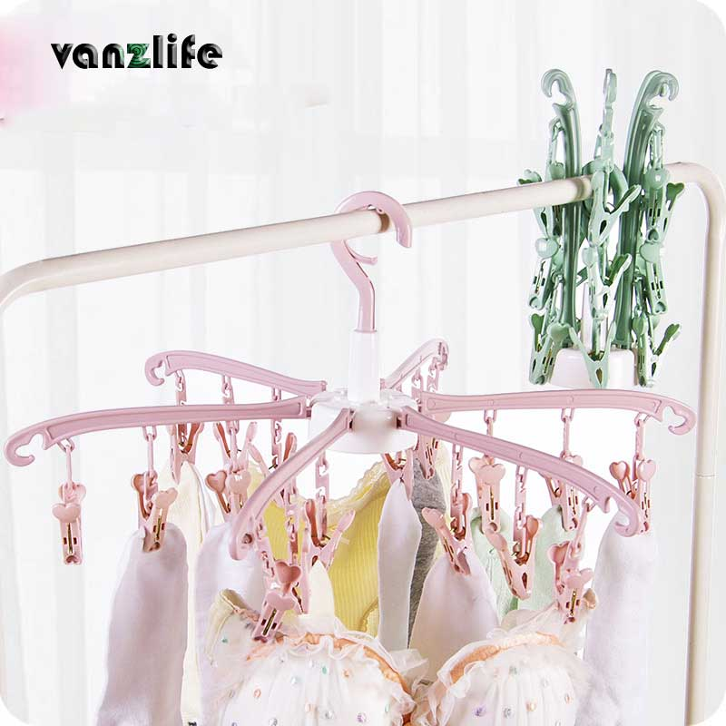 vanzlife six claws foldable rotating windproof clothespins household plastic socks underwear multi clip hanger