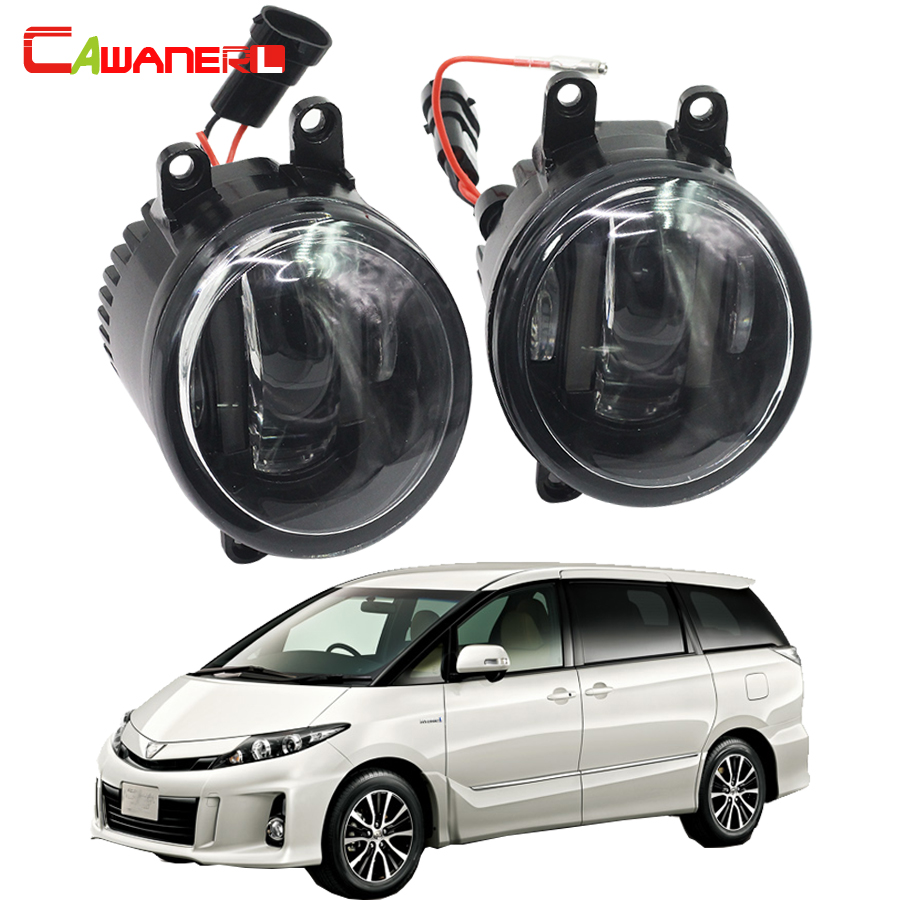 Cawanerl 2 Pieces Car LED DRL Daytime Running Lamp Fog Light White 12V For Toyota Estima MPV (MCR3_, ACR3_, CLR3_) 2000-2006 cawanerl for toyota highlander 2008 2012 car styling left right fog light led drl daytime running lamp white 12v 2 pieces