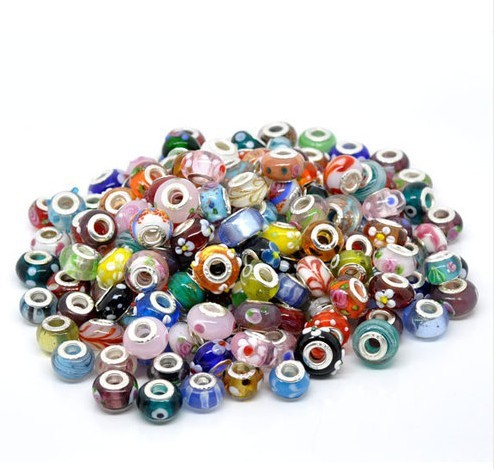 Free Shipping 50pcs Random Mixed Multicolor Lampwork <font><b>Beads</b></font> <font><b>Big</b></font> <font><b>Hole</b></font> Fit European Charms Bracelet 14x9mm
