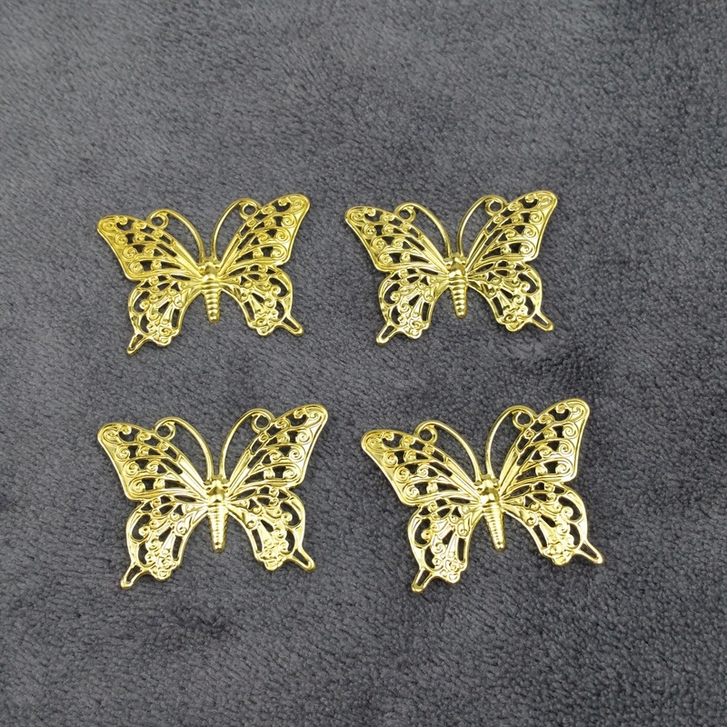 10pieces / lot 26x36mm brass color Box decoration filigree butter Slice Charms base Setting Jewelry DIY Components Findings