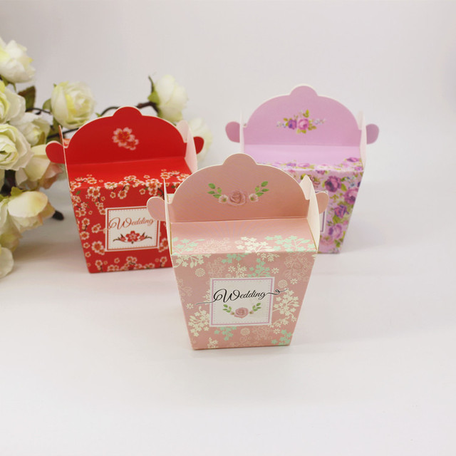 100 Pcs New European Wedding Favors Gift Candy Box Creative Flower Printed Personalized Packaging