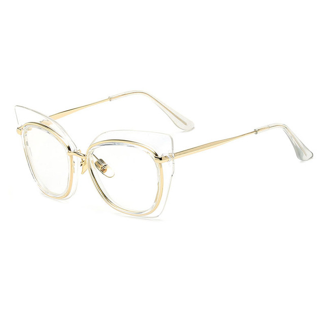 764abad5179 Fashion Cat Eye Gold Glasses Frame Women Optical Vintage Clear Lens Glasses  Frames Female Spectacles Eyeglasses