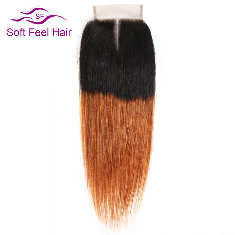 Soft Feel Hair T1B/30 Ombre Brazilian Straight Closure With Baby Hair 4x4 Remy Human Hair Lace Closure Ombre Black Brown Closure