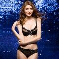 O envio gratuito de 2017 de luxo de nova VS mulheres bra set V profundo empurrar para cima lingerie sexy lace bra & breve conjunto de roupa interior para senhoras