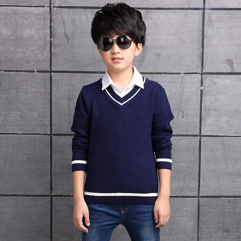 Baby Boys Sweater Autumn Winter 2018 V neck Fashion Cashmere Shirt Teenage Children Clothes Solid Corlor for 6 8 10 12 14 Years raw hem v neck sweater