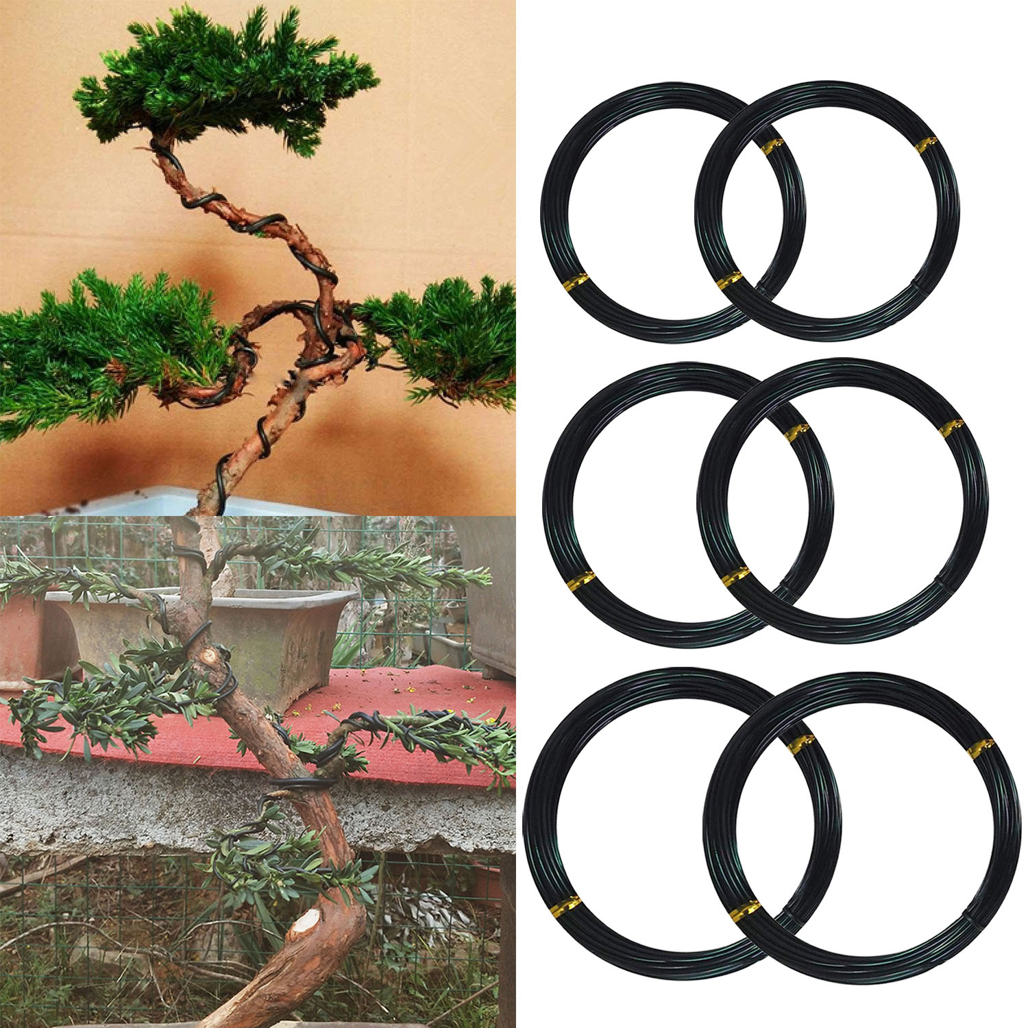 6 Roll 5m Aluminum Tree Training Wires For Garden Plants Bonsai Beginners Trainers Artists 1mm/1.5mm/2mm Black