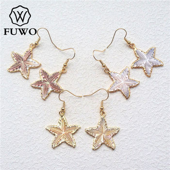 FUWO Carved Shell Stars Earrings With 24K Gold Filled Edge Fashion Maple Leaf Shape Shell Dangle Earrings Wholesale ER508 image