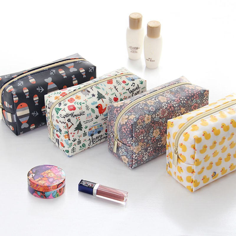 Cartoon Makeup Bag Fox Fish Duck Flower Pattern Cosmetic Pouch Beauty Case For Women Necessary Travel Organizer Women's Bag