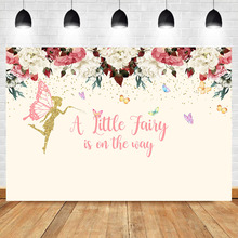 Baby Shower Backdrop A Little Fairy is on The Way Photo Background Girl's Birthday Newborn Baby Floral Photography Background doiy календарь для беременных baby on the way