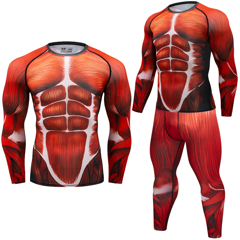 Brand New Men Compression   T  -  shirts   long sleeve Tees 3D Fitness Muscle Tights UFC BJJ MMA Gyms Exercise Rashguard   T     shirt   Clothin