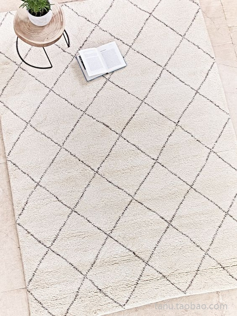 collalily Kilim handmade Carpet geometric Bohemia Indian Rug plaid striped Modern black white design Nordic style 3