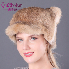 2019 New Winter 100% Natural Full Pelt Rabbit Fur Hats Women Warm Real Hat Girls Lovely Outdoor Fashion Caps