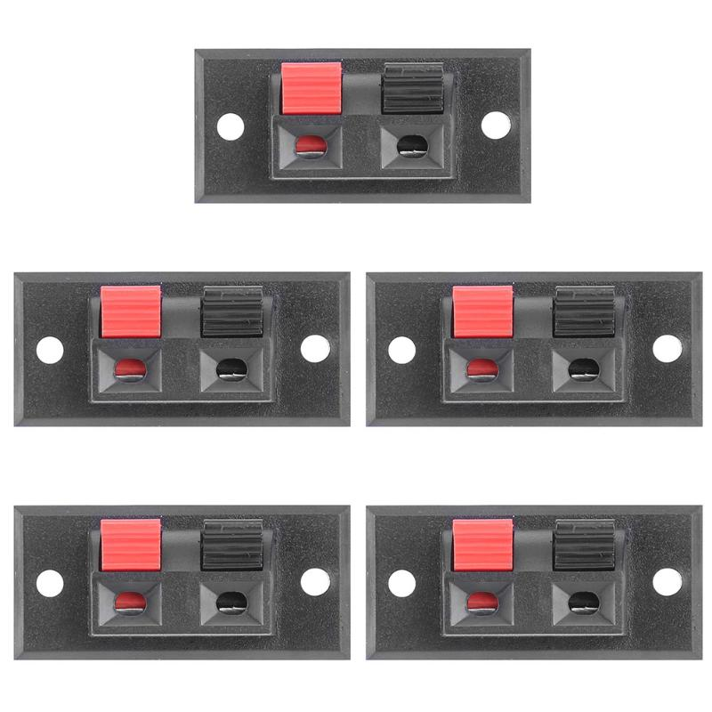 цена на 5pcs 2 Positions Connector Terminal Push-in Jack Spring Load Audio Speaker Terminals Panel Connectors for DIY Sound Box