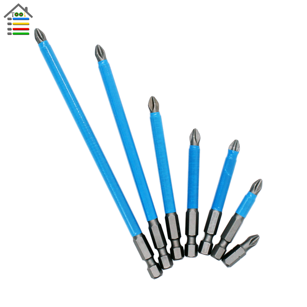 10pcs PH2 Anti Slip Electric Screwdriver Bits Set Magnetic Length 25-150mm 1/4 Hex Shank Single Side Air Power Tools Accessories speaker amplifier banana jack socket connectors blue 20 piece pack