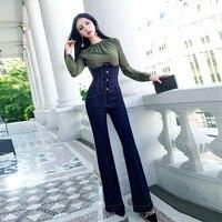 Весенняя мода Новый Европейский станция модно темперамент Высокая талия бедра micro джинсы клеш