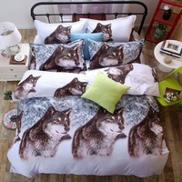 3d Lone Wolf Print Patroon Beddengoed Set Kingsize Romantische roze Roze Bloem Zachte Comfortabele Slaapkamer Thuis Textiel Bed set 200x230