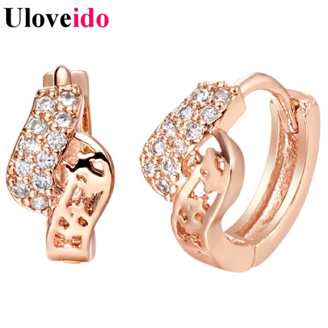 15% Off Rose Gold Color Earrings for Women Pendientes Vintage Crystal Jewelry Girls Silver Brincos Stud Earring Uloveido R326