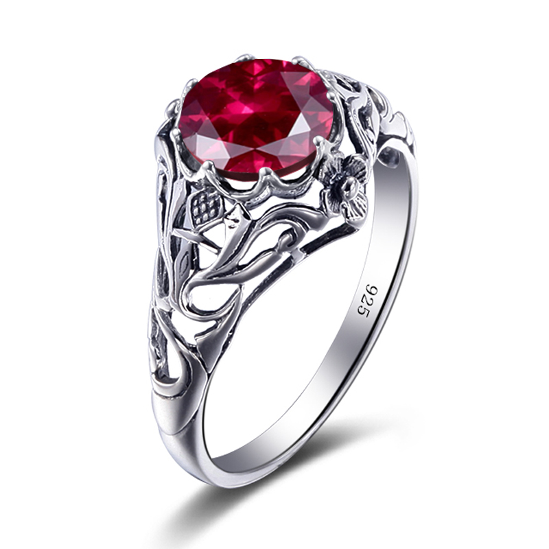 szjinao fashion women 925 sterling silver ring red stone love famous brand rings tibetan silver rings