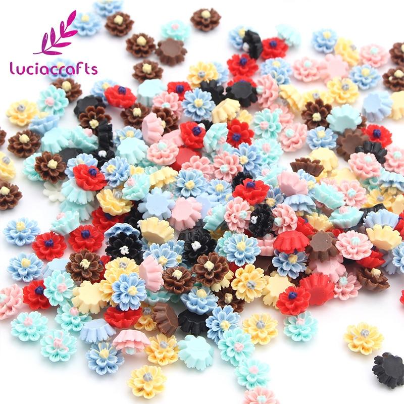 Lucia crafts 50pcs/lot 12mm Multi Option Resin Flatback Flower DIY Crafts Home Hairpin Headwear Handmade Accessories 080002095