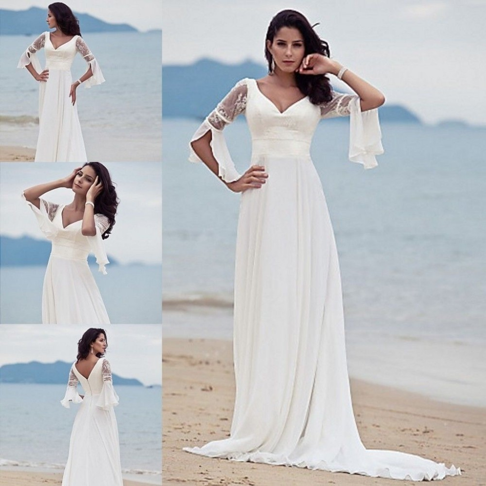 Us 158 0 Custom Size Line Sandy Beach Wedding Dresses Fashion V Neck Lace Chiffon Bride Wedding Dress Free Shipping 2015 In Wedding Dresses From