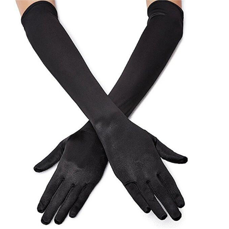 Classic Adult Black White Red Gray Skin Opera / Elbow / Pulse Stretch Satin Finger Long Gloves Flapper Gloves Matching Costume