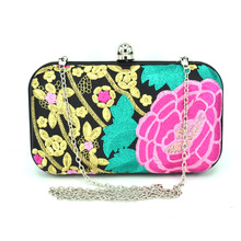 Elegant luxury handmade embroidered flowers retro mini wedding party clutch evening bag Purse handbag women s