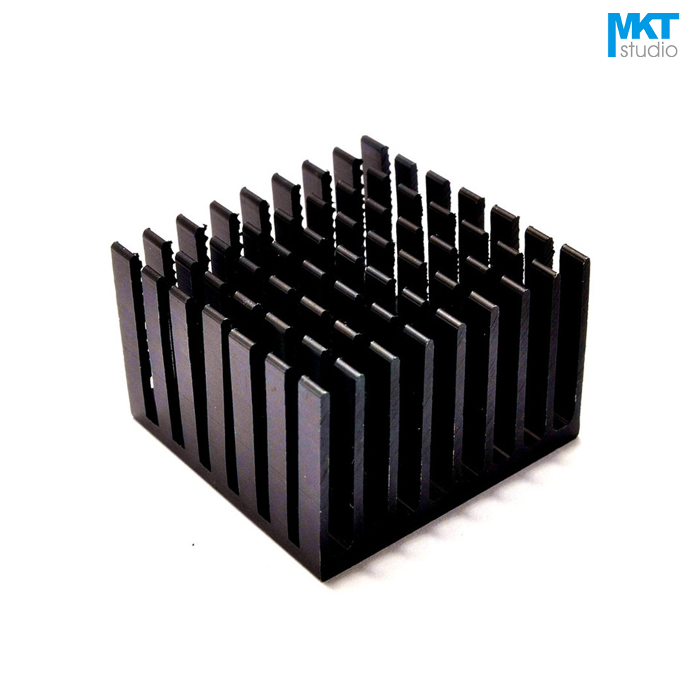 50Pcs Black 37mmx37mmx24mm Pure Aluminum Cooling Fin Radiator Heat Sink