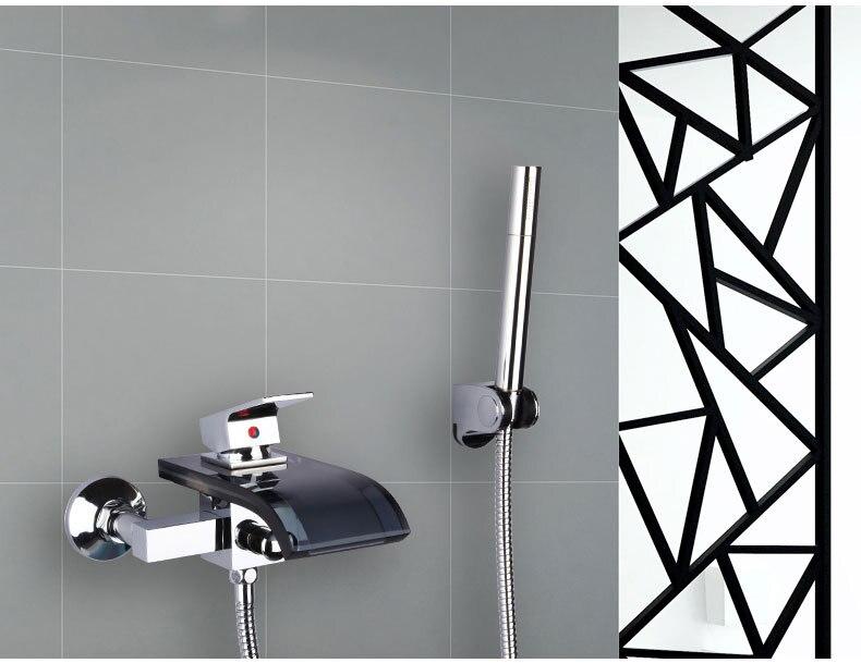 Robinet de baignoire en cuivre douche chrome, ensemble de robinet de douche cascade mural, robinet de douche à main pour salle de bain