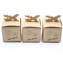 50 pcs/lot Vintage Pesawat Airmail Favour Karton, Kraft kertas Kotak Permen pesta Pernikahan baby shower, Pesta Pernikahan Favor dekorasi(China)
