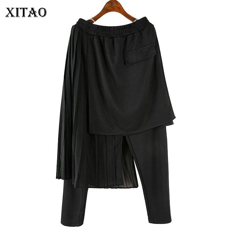 XITAO Irregular Lace Pants Women Elastic Waist Patchwork Korea Fashion New 2019 Summer Elegant Wild Joker Harem Pants  ZLL4242