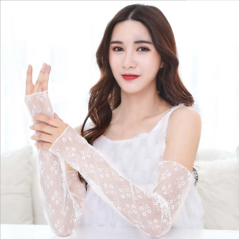 Korean Version Women's Summer Sun Protection Sleeves Mesh Lace UV Thin Long-sleeved Bike Breathable Cycling Gloves Driving Arm