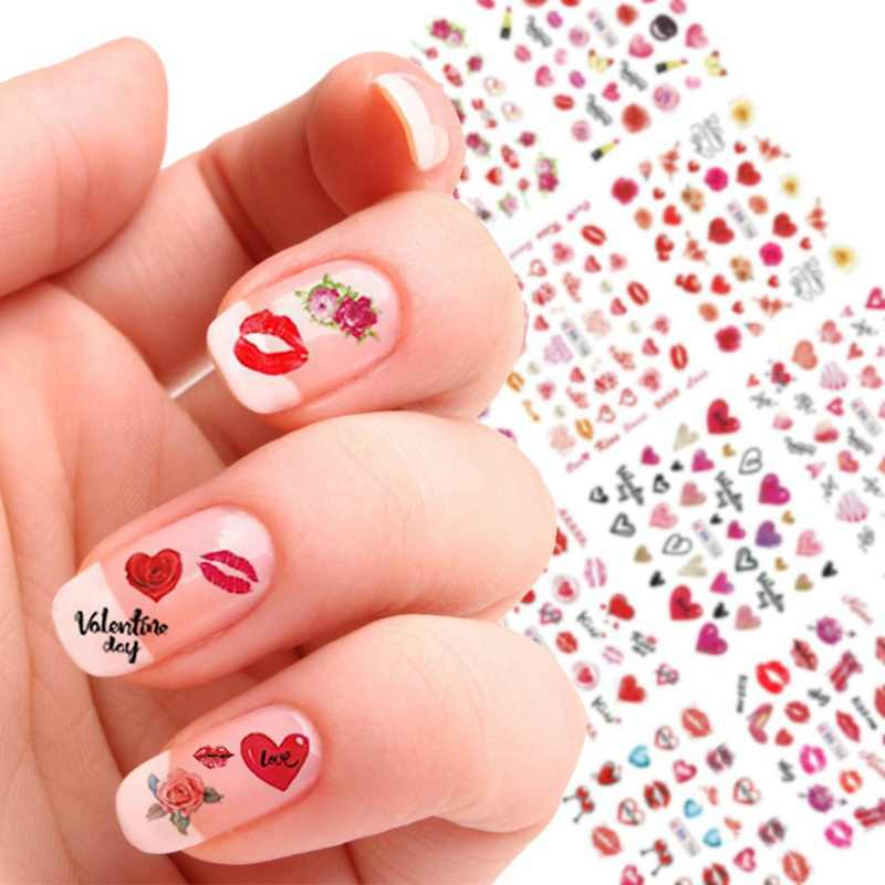 24 Designs Valentine Colorful Sticker For Nail Art