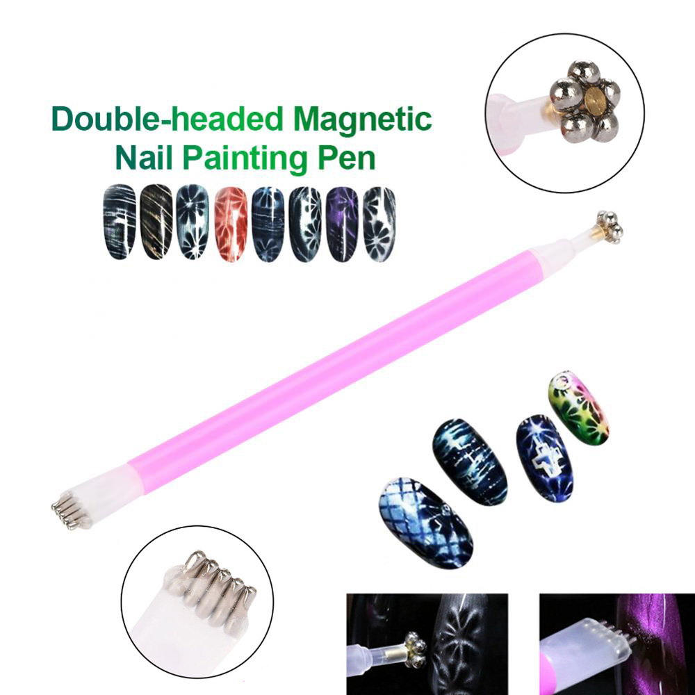 Nail Art Magnet Stick Cat Eyes Double Headed Flower Magnet Pen For