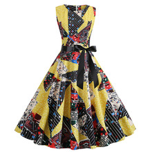 2019 Summer New Women's Round Neck Sleeveless Print Retro Hepburn Style Dress Vintage A-Line Print Sleeveless Knee-Length Dress