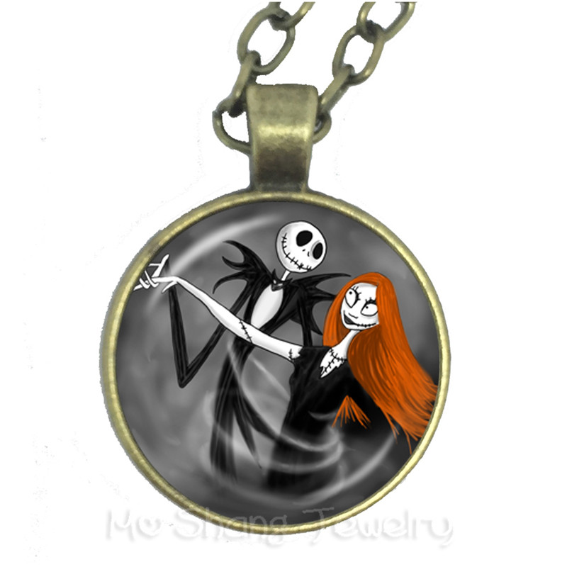 Xmas Necklace Jack Skellington And Sally Nightmare Before Chrismas Glass Dome Pendant Halloween Valentines Day Gift
