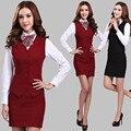 2016 Verão ternos das mulheres desgaste do trabalho saia de moda OL mais tamanho colete roupas colete conjunto uniforme feminino formal do escritório das senhoras ternos