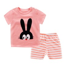 Hot cartoon children's clothes short-sleeved+shorts suit cute baby cotton comfortable new for 0-5 years old(China)