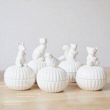 White ceramic small animal jewelry box