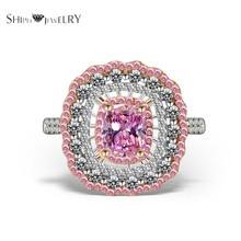 Joyas hechas a mano! SHIPEI 2016 Nueva Moda Rosa Anillo de Platino Plateado con AAA CZ Fila de Diamantes de Imitación, del Total del quilate de Peso 6.5