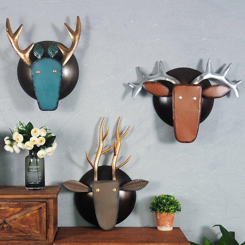 유럽과 미국 스타일의 가정 장식 액세서리 금속 동물 머리 벽 장식 공예 사슴 머리 장식 장식.-에서풍경 & 벽 장식부터 홈 & 가든 의  그룹 2