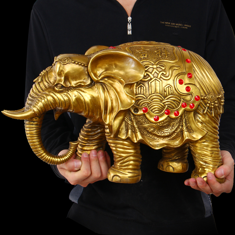 55 Cm Large Home Office Safety Business Luck Efficacious Talisman Golden Thailand Indian Elephant Br Statue In Statues Sculptures From