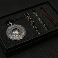 Vintage Black Classic Hollow Skeleton Mechanical Hand Wind Roman Numerals Pocket Watch Pendant Chain Luxury Clock