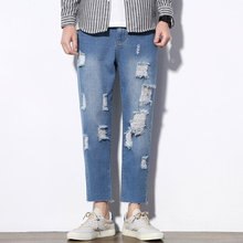 Men'S Ripped Jeans Distressed Destroyed Loose Fit Stretch Biker Jeans Holes Men Casual Cowboys Jeans Hip Hop Straight Streetwear 2017 fashion hi street mens destroyed jeans with zippers ripped hip hop jeans with holes on the knee distressed denim joggers