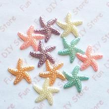 18 мм, 100 шт./лот, жемчужная смола, морская звезда, плоская задняя сторона для украшения